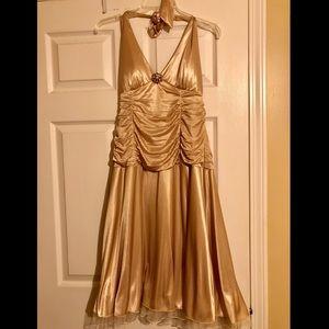 Gold flowy dress